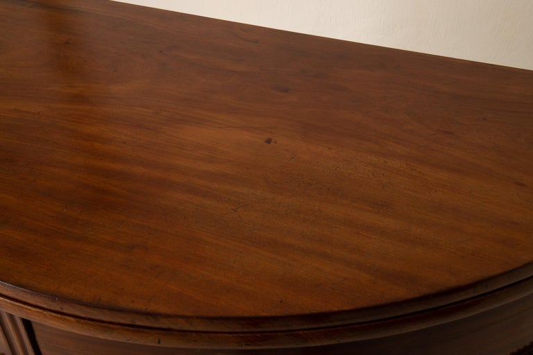 Table Game Table Gustavian Swedish Demi Lune Mahogany Brown, Sweden For Sale 4