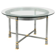 Table in Brushed and Gilt Metal, Glass Tray, 1970s