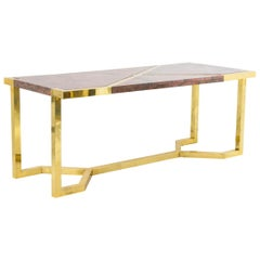 Table in Gilt Brass and Pink Granite, Italy, 1970s