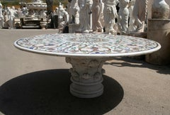 Table in Italian Pietre Dure Inlay Mosaic + marble pedestal