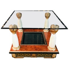 Table in the Versace Style with 4 Columns Frame in Maple Root Veneer