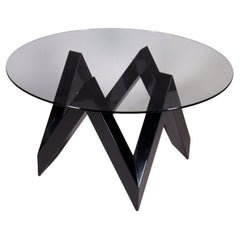 Table Lacquered Wood Glass, Italy, 1980s 1990s