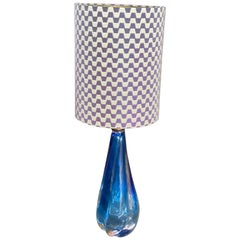 Table Lamp 1950s, Blue Glass Lamp Base with New Lampshade in Missoni Home Fabric