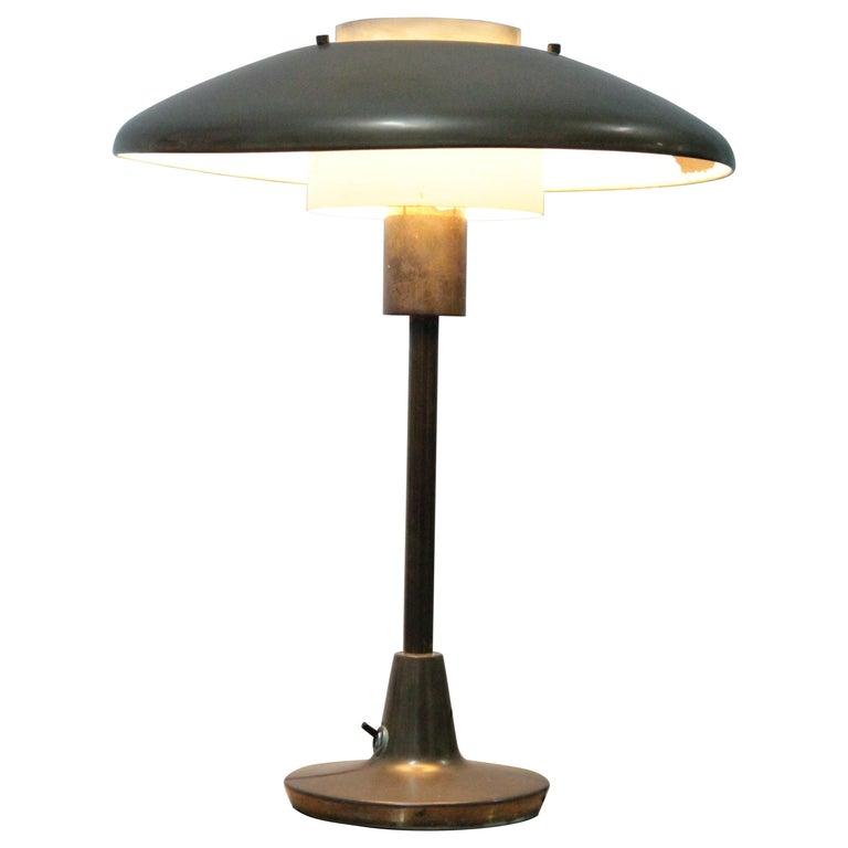 Table Lamp 1950s Stilnovo Mod. 8022 Rare Full Brass Version For Sale
