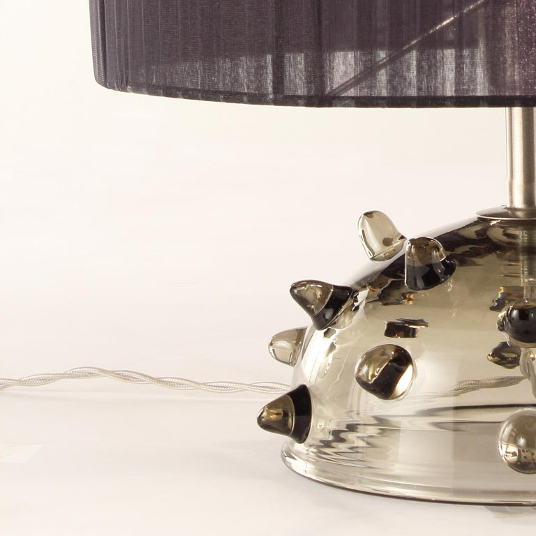 """Italian Artistic Table Lamp Grey Glass, Clear """"Bugne"""" Black Lampshade by Multiforme For Sale"""