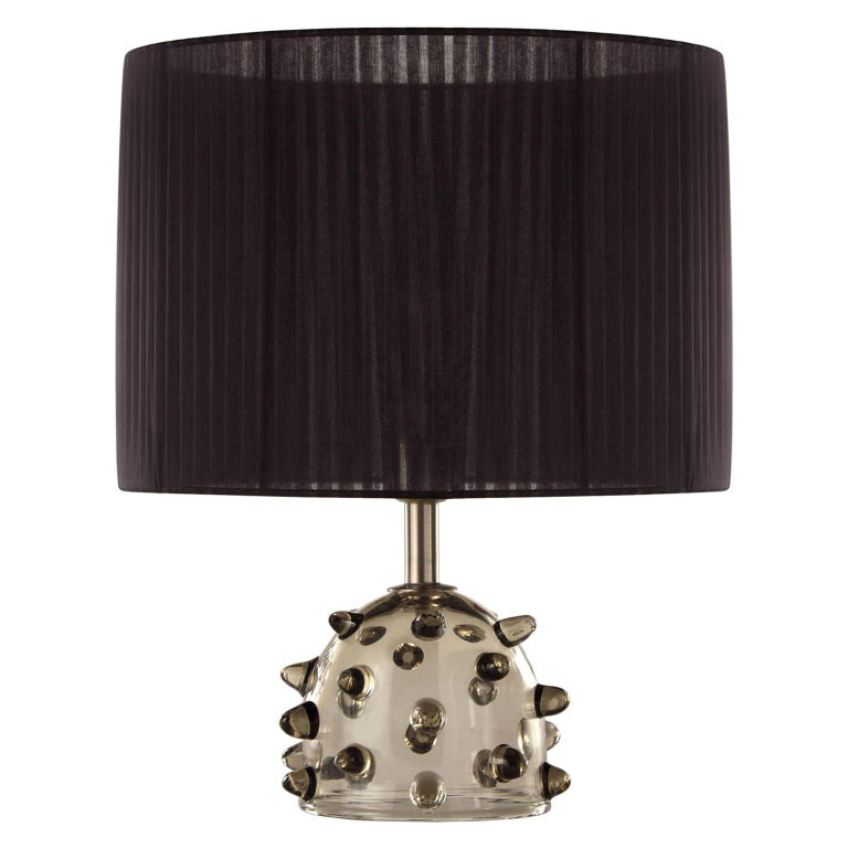 """Artistic Table Lamp Grey Glass, Clear """"Bugne"""" Black Lampshade by Multiforme For Sale"""