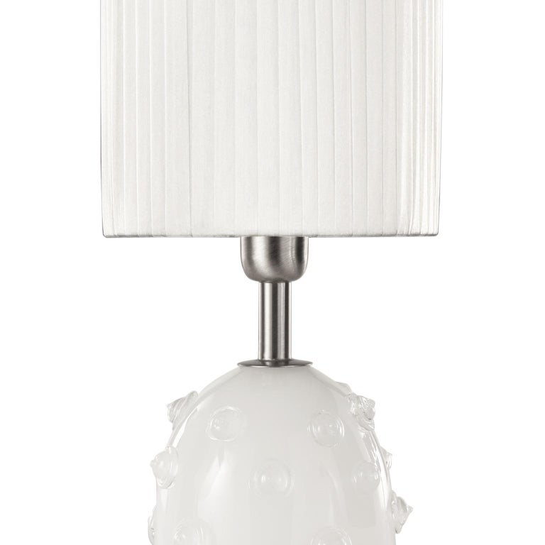 "Table lamp in silk artistic Murano glass with clear ""borchie"" (particular application in glass on the base), grey organza lampshade. Nickel fixture."