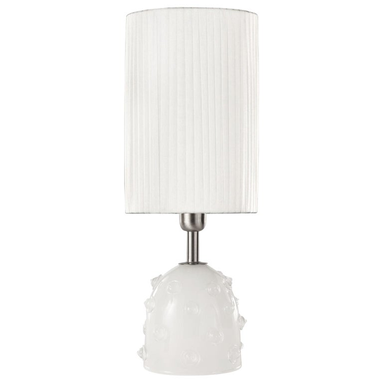 "Artistic Table Lamp Silk Glass Clear ""Borchie"" Grey Lampshade by Multiforme For Sale"