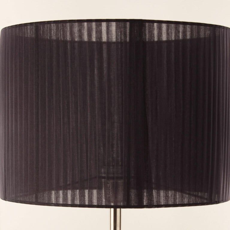 """Other Artistic Table Lamp Grey Glass, Clear """"Bugne"""" Black Lampshade by Multiforme For Sale"""