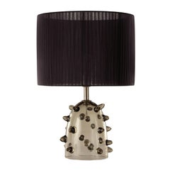 "Artistic Table Lamp Grey Glass, Clear ""Bugne"" Black Lampshade by Multiforme"