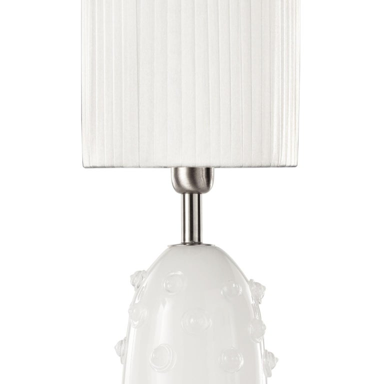 """Table lamp in silk artistic Murano glass with clear """"borchie"""" (particular application in glass on the base), grey organza lampshade. Nickel fixture."""