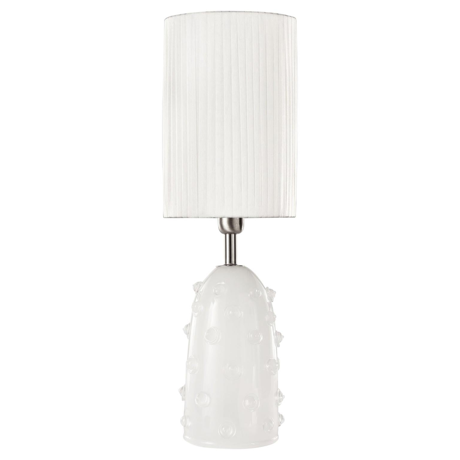 "Artistic Table Lamp Silk Glass Clear ""Borchie"" Grey Lampshade by Multiforme"