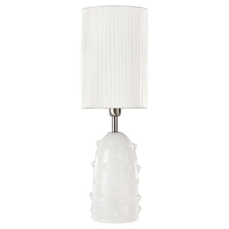 """Artistic Table Lamp Silk Glass Clear """"Borchie"""" Grey Lampshade by Multiforme For Sale"""