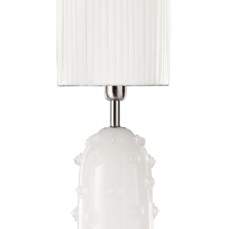 """Italian Artistic Table Lamp Silk Glass Clear """"Borchie"""" Grey Lampshade by Multiforme For Sale"""