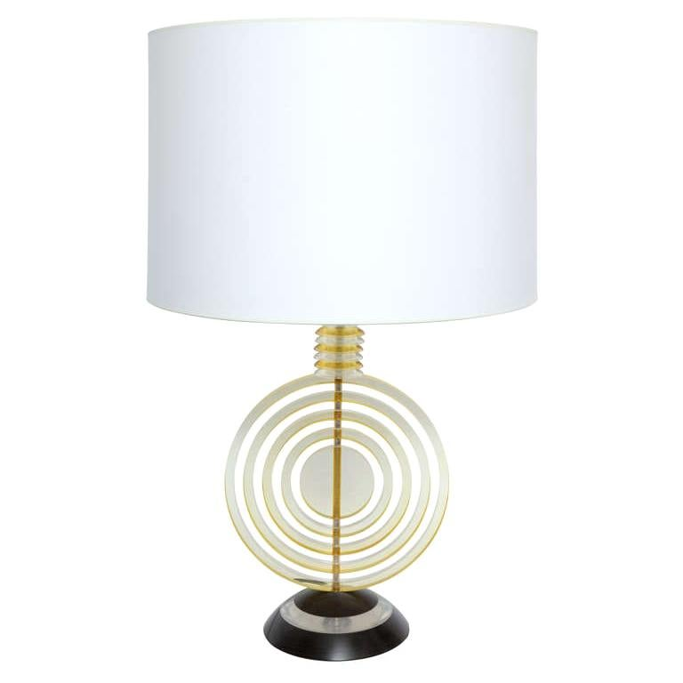 Table Lamp American Modernist Sculptural Lucite Concentric Circles, 1930s For Sale