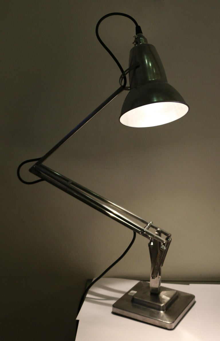 Aluminum Table Lamp Anglepoise by G. Cawardine and Produced by Herbert Terry, UK, 1950s For Sale