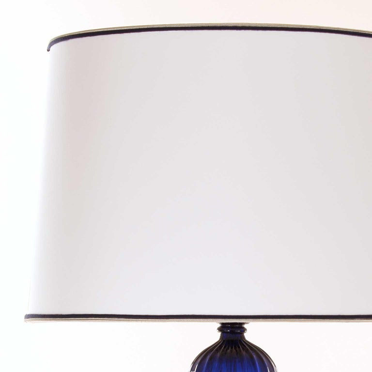 Other Artistic Table Lamp Blue Transparent Murano Glass White Lampshade by Multiforme For Sale