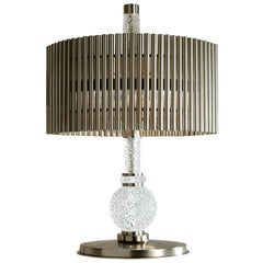 Table Lamp Brass Crystal Hand Engraved Nickel