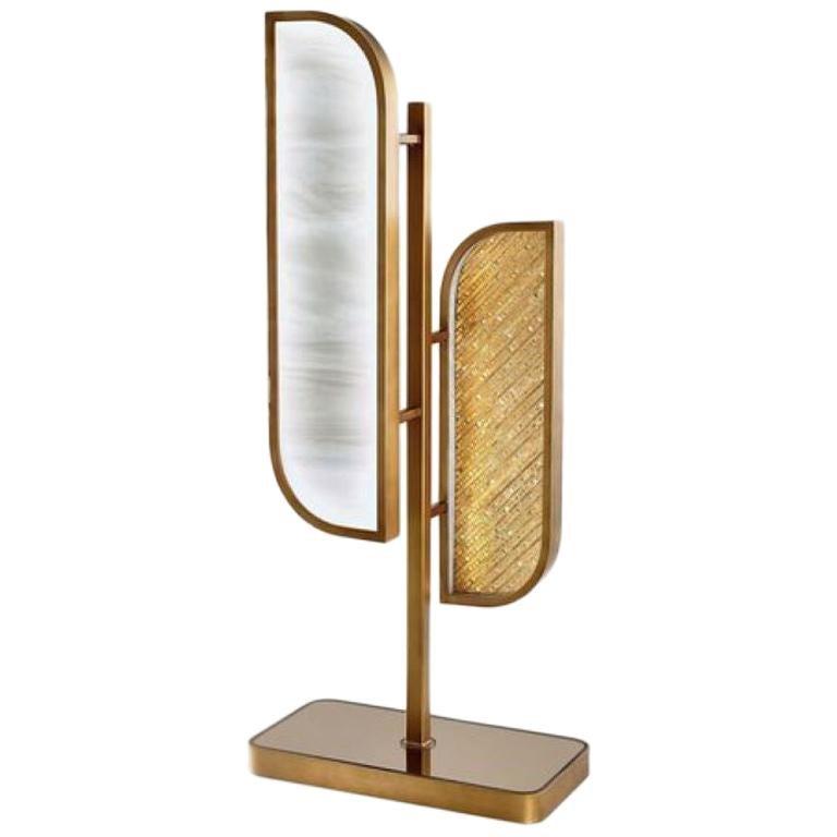 Table Lamp Brass Frame Antique Bronze or Silver Finish Decorative Insert Backlit For Sale