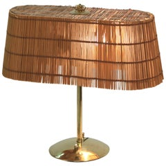 Table Lamp, Brass and Shade Made of Splints, Lasipaino Oy, Finland, 1940s