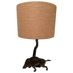 Table Lamp Bronze with Wild Boar Figure German Black Forest