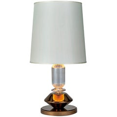 Table Lamp Bronzed or Chromed Metal Frame Amber or Smoked Glass Pyrex Glass