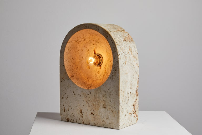 Travertine Table Lamp by Giuliano Cesari for Nucleo Sormani For Sale
