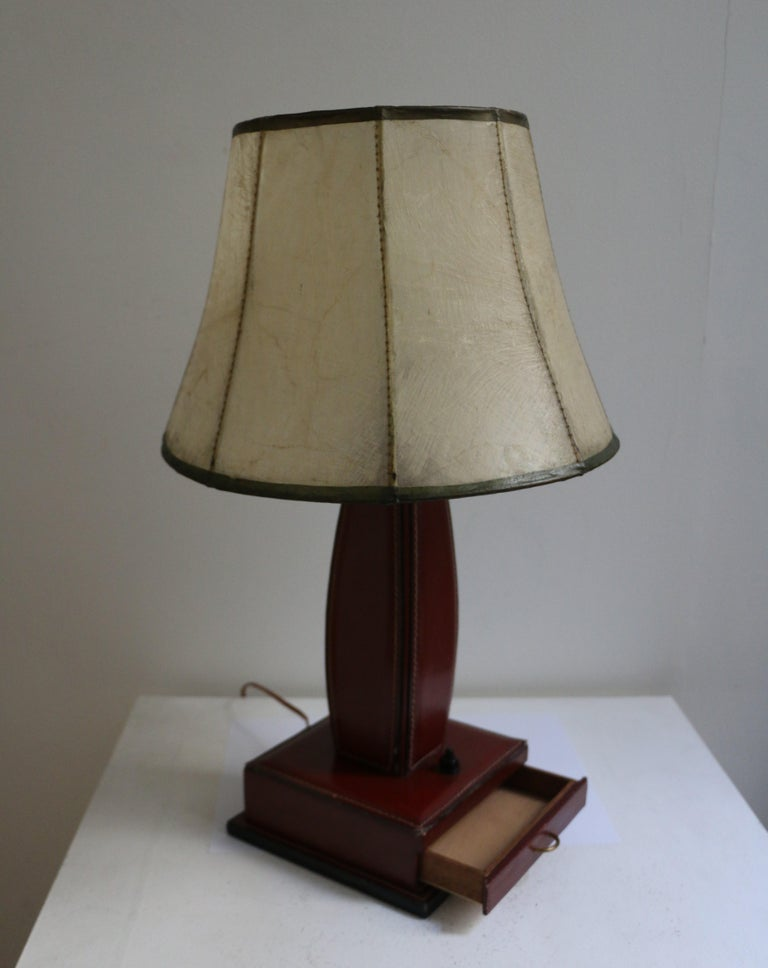 French Table Lamp by Jacques Adnet, Stitched Leather, France, 1950s For Sale