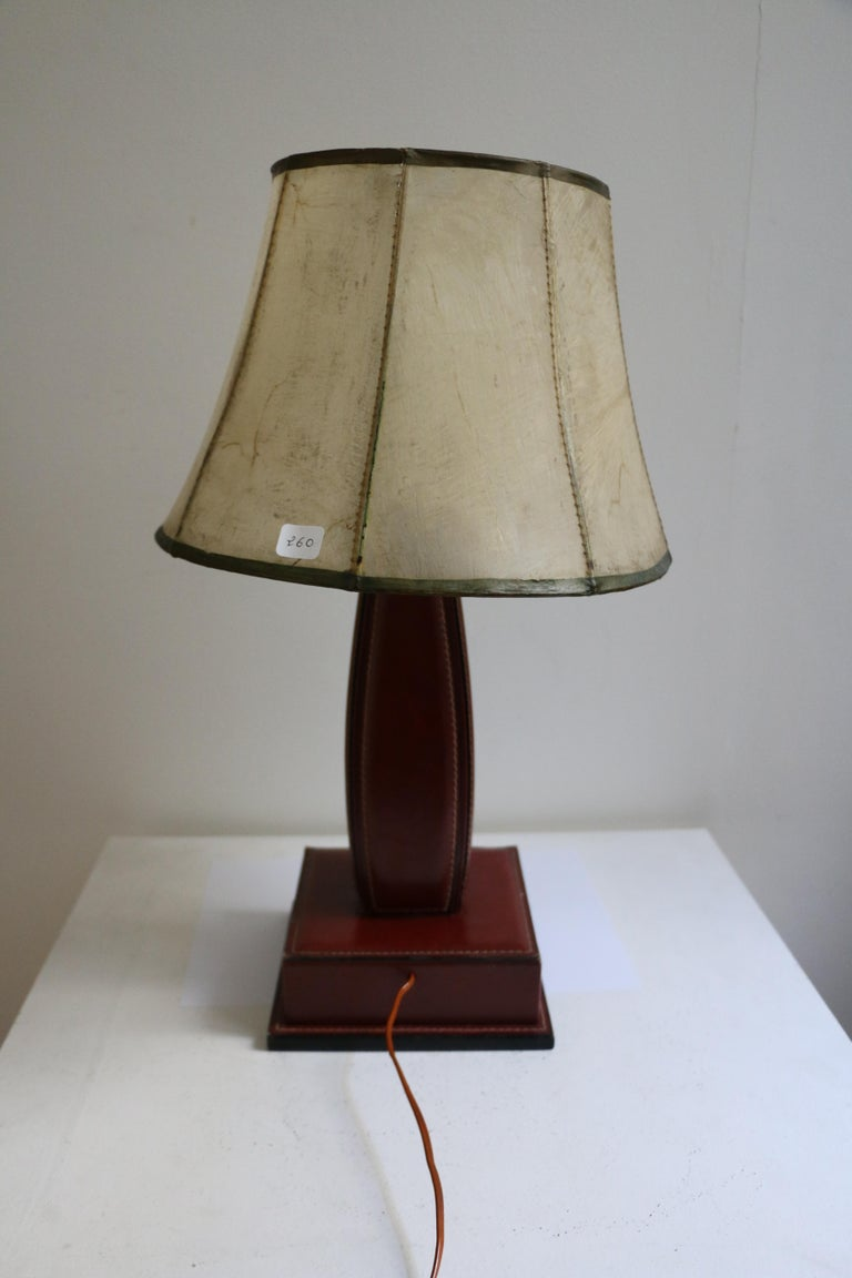 Table Lamp by Jacques Adnet, Stitched Leather, France, 1950s In Good Condition For Sale In Paris, FR