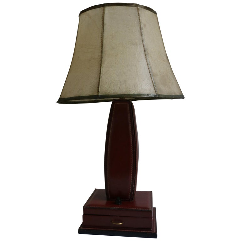 Table Lamp by Jacques Adnet, Stitched Leather, France, 1950s For Sale