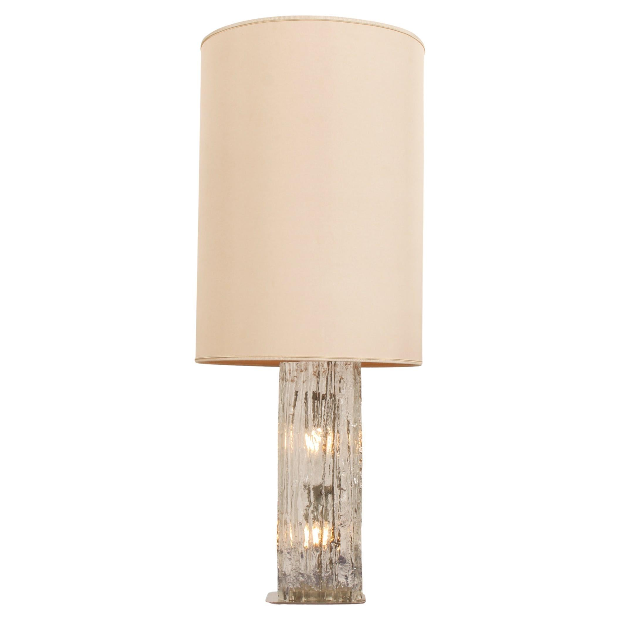 Table Lamp by Kalmar Frankenberg with an Illuminated Ice Glass Stand