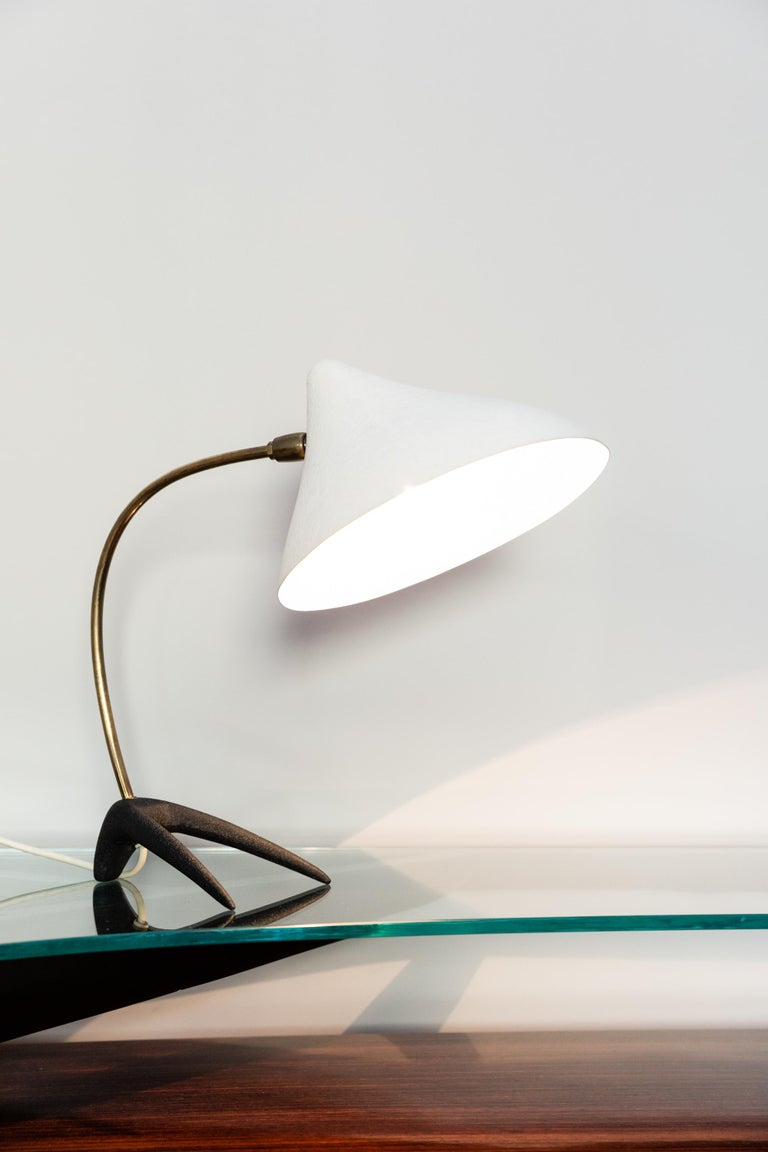 Table lamp by Louis Kalff for Philips, Netherlands circa 1950, aluminum shade in lacquered white color,