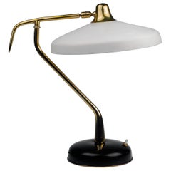 Table Lamp by Oscar Torlasco for Lumi, Brass Black White Metal, Italy, 1950s
