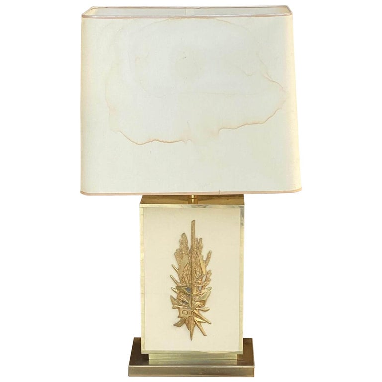Table Lamp by Philippe Cheverny, Large Model, Brass, Resin, Plastic, France 1970 For Sale