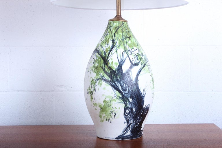 Ceramic Table Lamp by Raymor For Sale