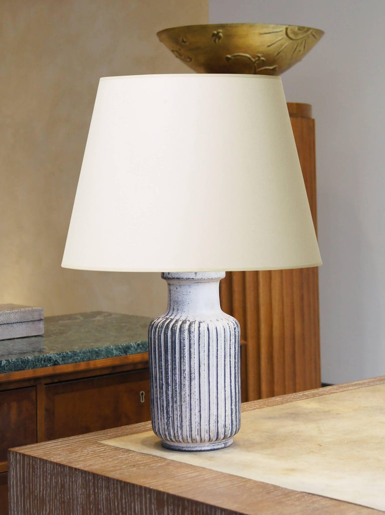Art Deco Table Lamp by Svend Hammershøi with Pale Rose-Black Glazing For Sale