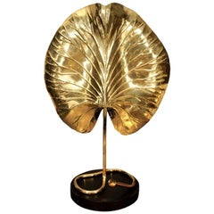 Table Lamp, by Tommaso Barbi, Mid-Century, Brass Leaf, circa 1950, Italy