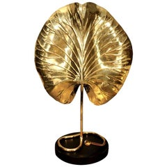 Table Lamp, by Tommaso Barbi, Midcentury, Brass, circa 1950, Italy
