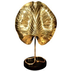 Table Lamp, by Tommaso Barbi, Mid-Century Modern, Brass, circa 1950, Italy