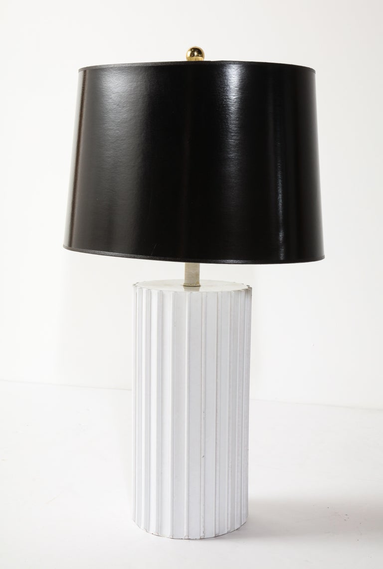 Hand-Crafted Table Lamp, Ceramic, White, Midcentury, circa 1960, Vintage For Sale