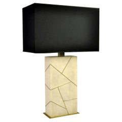 Table Lamp CONSTELLATION in Shagreen and Brass by Ginger Brown