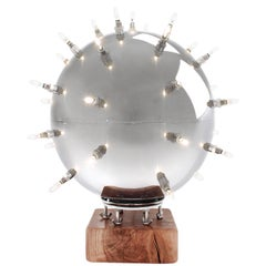 Table Lamp Contemporary Deisgn Spheric Ball Shape Steel Dimmerable
