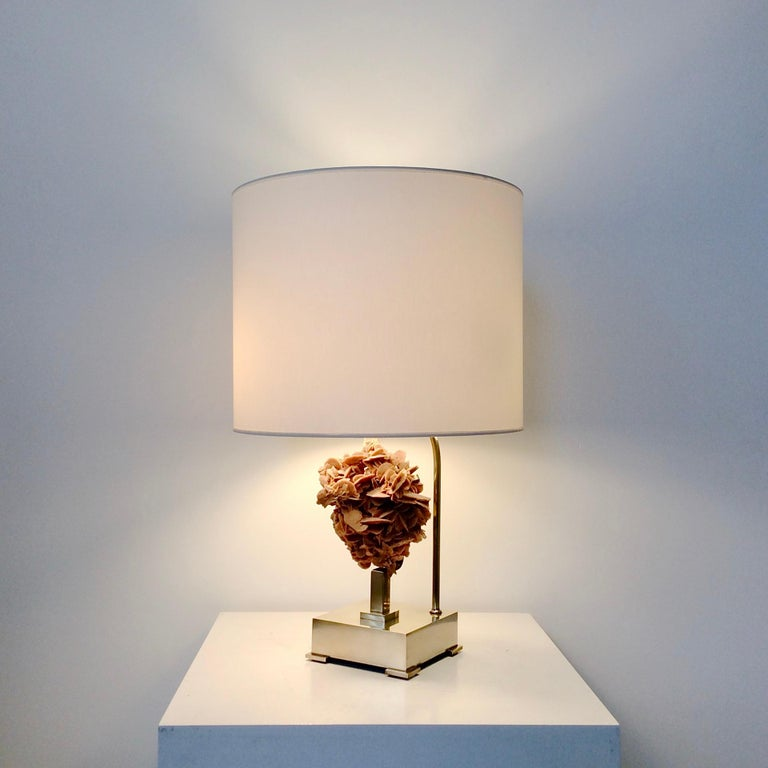 Mid-Century Modern Table Lamp, Desert Rose and Brass, by Willy Daro, circa 1970, Belgium For Sale
