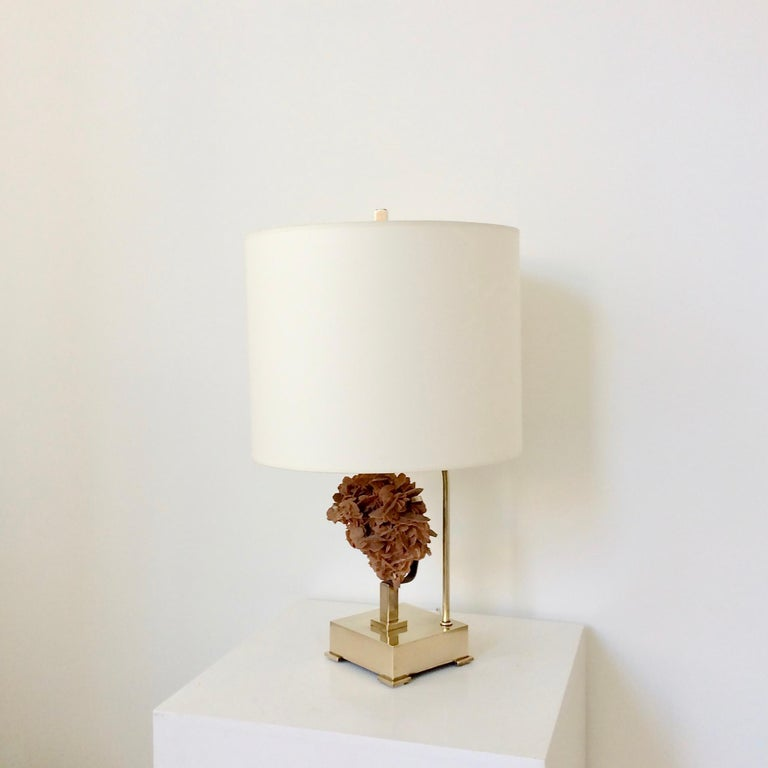 Belgian Table Lamp, Desert Rose and Brass, by Willy Daro, circa 1970, Belgium For Sale