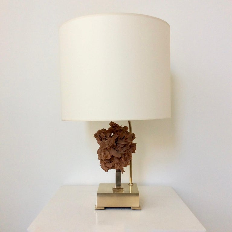 Late 20th Century Table Lamp, Desert Rose and Brass, by Willy Daro, circa 1970, Belgium For Sale
