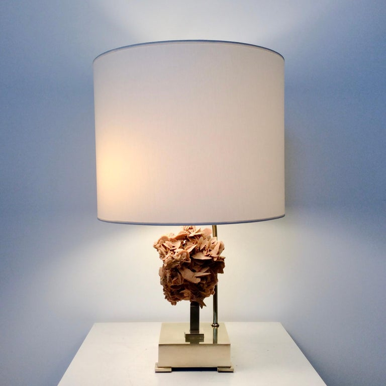 Table Lamp, Desert Rose and Brass, by Willy Daro, circa 1970, Belgium For Sale 1