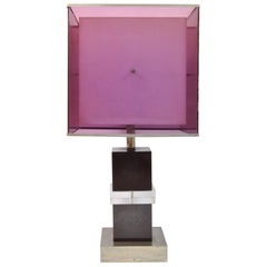 Table Lamp Design by Romeo Rega Purple Lucite and Chromed Brass Base, Italy 1970