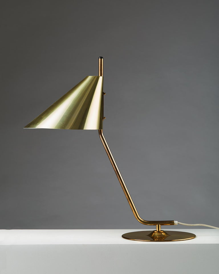 Table lamp designed by Hans Agne Jakobsson, Sweden, 1960s. Brass.