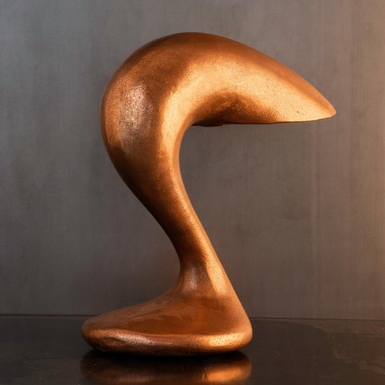 Hand-Carved Table Lamp, Eliza's Big Question, Burnished Copper, Jordan Mozer USA, 2002 For Sale