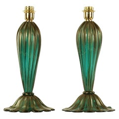 Artistic Table Lamp, Emerald Colour with Golden Leaf  Murano Glass by Multiforme